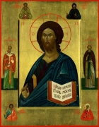 Спас с избранными святыми. семейная икона.